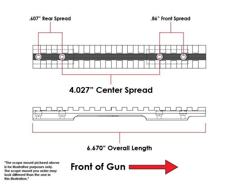 Weatherby Mark V TRR (6 Lug Only) Picatinny Rail Scope Mount 20 MOA Ambidextrous