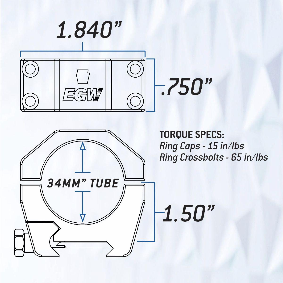 Keystone 34mm Tube Scope Rings - 1.5